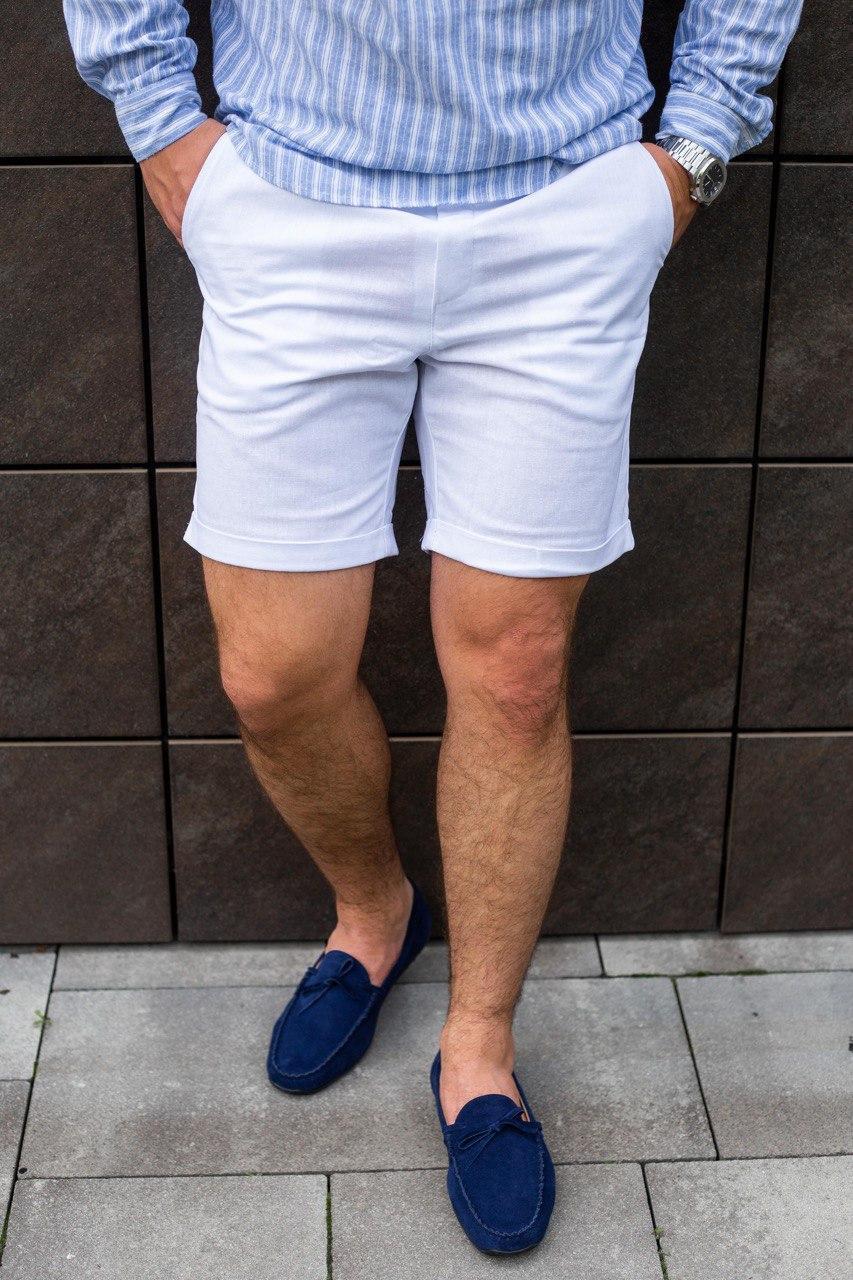 Мужские шорты белые льняные
