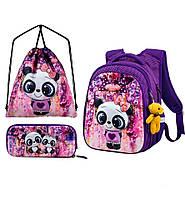 Рюкзак ортопедический школьный для девочки 1-4 класса набор пенал+сумка для обуви Winner One R1-001 29*19*38см, фото 1