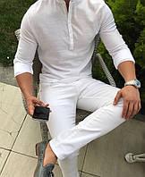 РОЗПРОДАЖ! Мужская белая льняная рубашка Розмір S