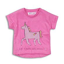 Детская розовая футболка для девочки 9-12 месяцев, 74-80 см