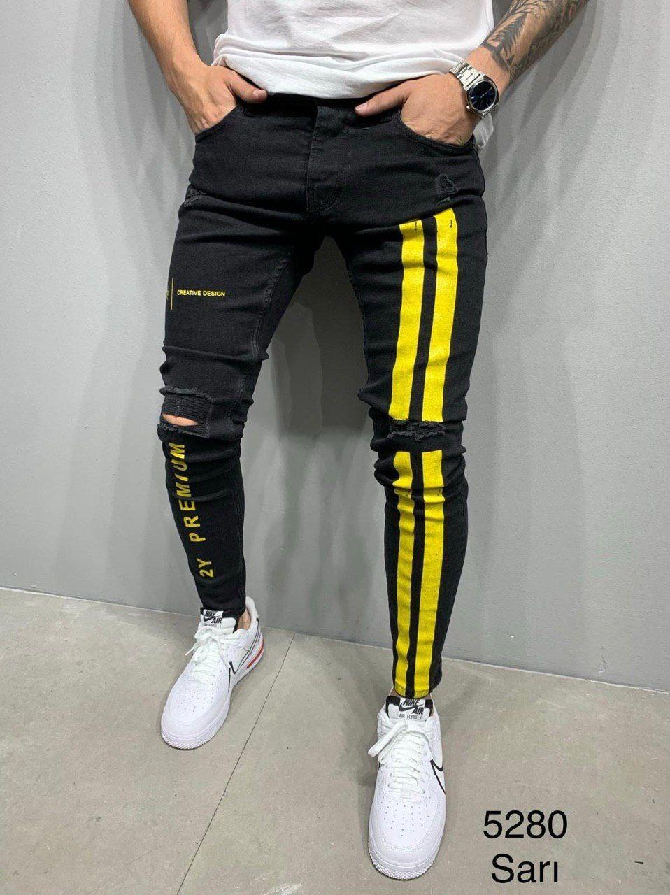 Джинсы - мужские черные джинсы с желтыми буквами хлопок