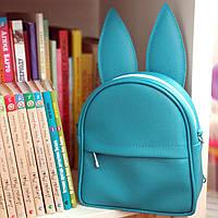 Рюкзак-сумка с ушками зайца (голубой)