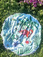 Круглое пляжное покрывало (полотенце) Flamingo