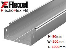 Лоток цельнометаллический, оцинкованный 200x50x3000x0,6 мм Plechoflex FB