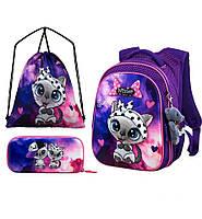 Рюкзак ортопедический школьный набор для девочки 1-4 класса пенал+сумка для обуви Winner One R1-002 29*19*38см, фото 1