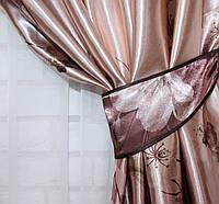 """Ткань атласный блэкаут с принтом """"Фотошторы"""" цвет кофейний с коричневим. Высота 2,7м. . 259ш"""