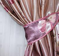 """Ткань атласный блэкаут с принтом цвет фиолетовый """"Фотошторы"""". Высота 2,7м. . 568ш"""