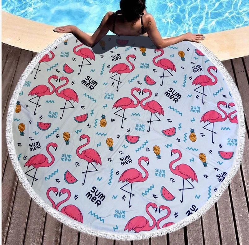 """Кругле пляжний рушник """"Summer Flamingo """""""