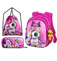Рюкзак ортопедический школьный набор для 1-4 класса для девочки Единорог Пони пенал+сумка Winner One R1-005, фото 1