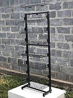 Пристенный серый стеллаж Трансформер с полками-корзинами и крючками