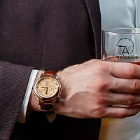 Часы мужские с коричневым кожаным ремешком Patek Philippe Sky Moon Gold-Brown