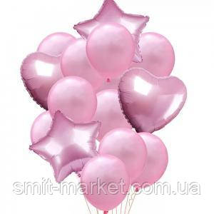 Набор шариков с блёстками (уп.14шт.)  розовый, фото 2