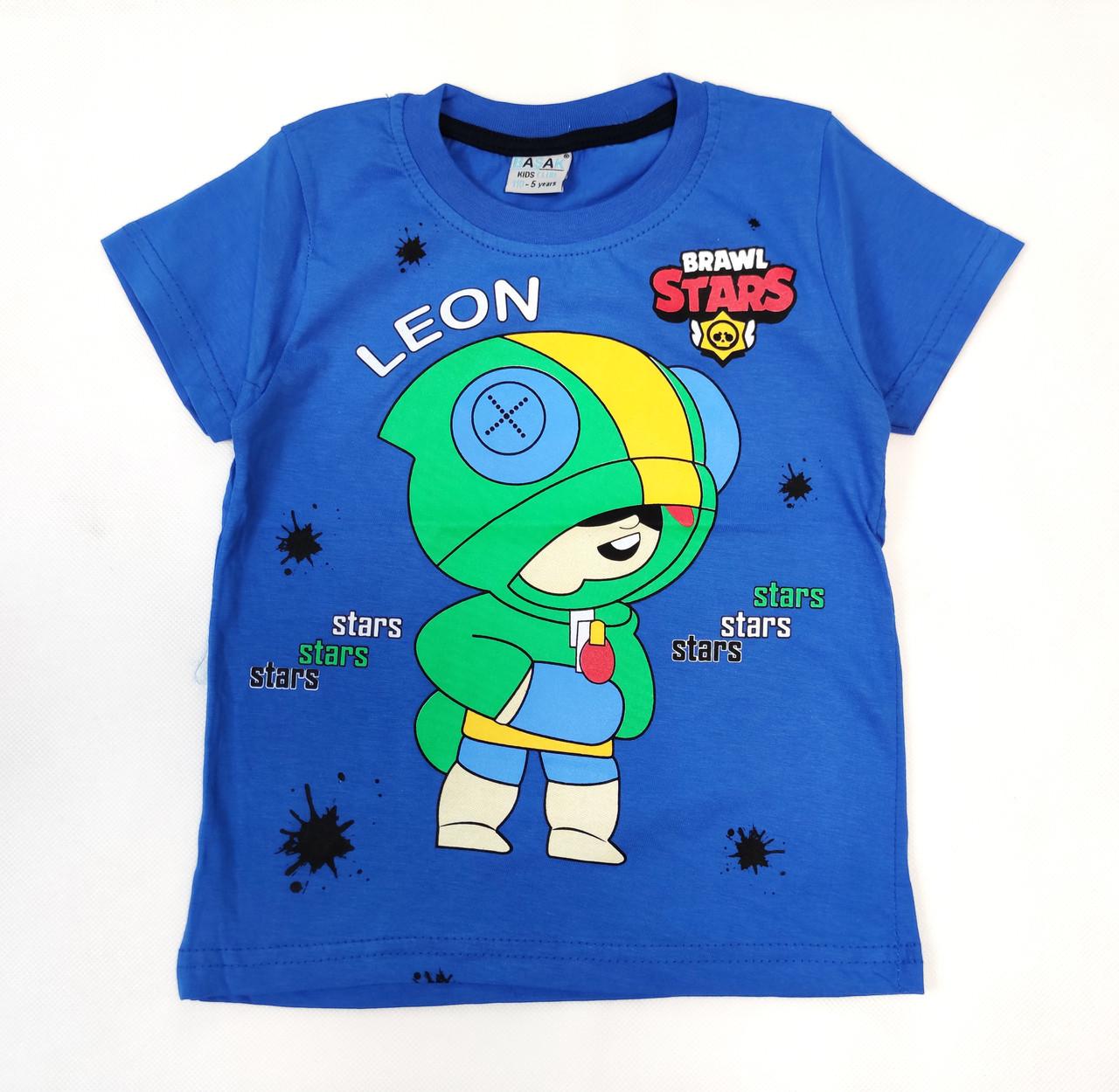 Детская футболка для мальчика бравл старс brawl stars Леон синяя 7-8 лет