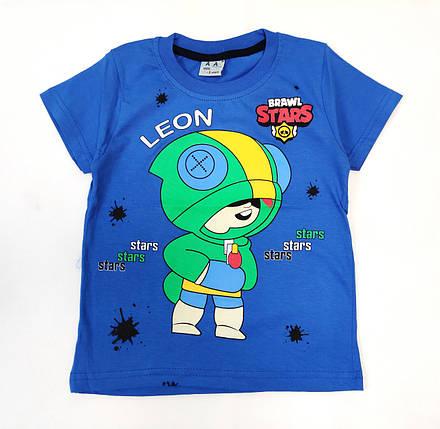 Детская футболка для мальчика бравл старс brawl stars Леон синяя 7-8 лет, фото 2