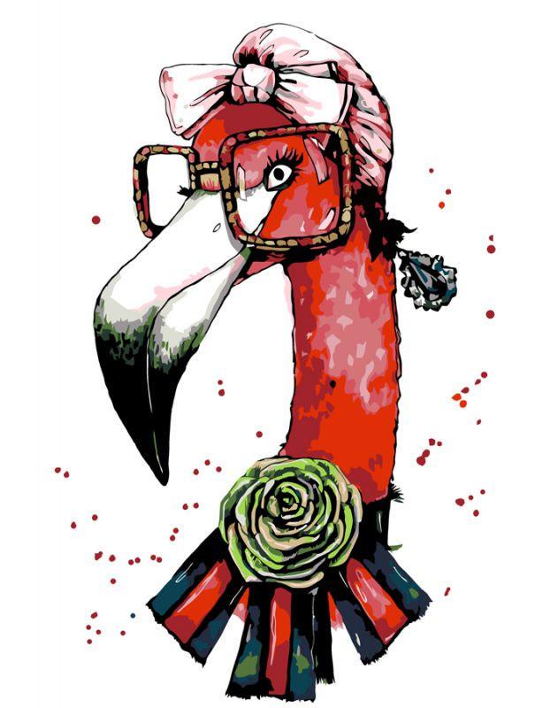 "Картина по номерам. Rosa ""Fashion Flamingo"" 35х45см"