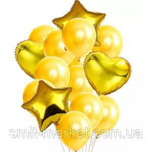 Набор шариков с блёстками (уп.14шт.)   золото