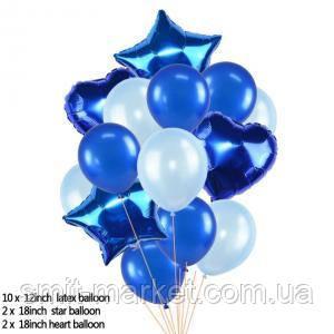 Набор шариков с блёстками (уп.14шт.)   синий, фото 2