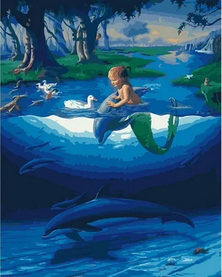 """Картина по номерам. Rainbow Art """"Маленький русал с дельфинами"""""""