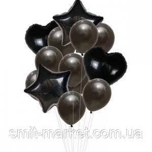 Набор шариков с блёстками (уп.14шт.)   черный