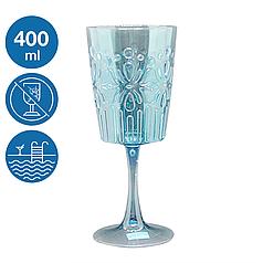 Винний келих бокал акрил Синє море небиткий багаторазовий посуд для басейну яхти кейтерингу склопластик 400 мл