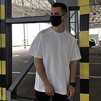 """Стильная мужская хлопковая футболка оверсайз белая """"Saibot"""" с рефлекторными полосками - S"""