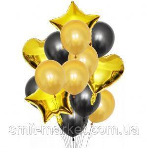 Набор шариков (уп.14шт.) чёрный с золотом, фото 2