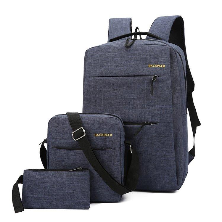 Рюкзак городской набор 3в1 BACKPACK Trend USB 17 л Синий