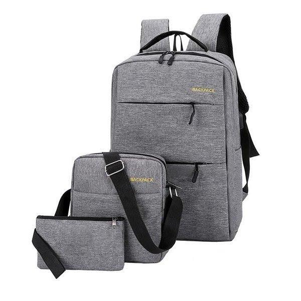 Рюкзак городской набор 3в1 BACKPACK Trend USB 17 л Серый