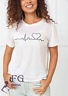 Женская белая футболка с сердцем  В 008/03, фото 1