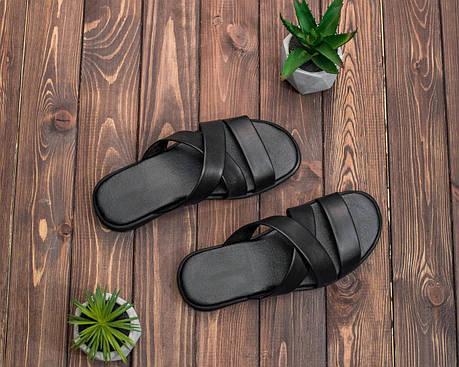 Чоловічі літні шльопанці чорного кольору, фото 2
