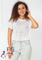 Біла футболка з принтом У 009/01, фото 1