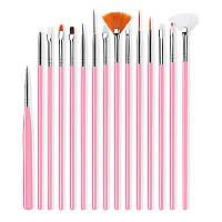 Набор кистей для дизайна и наращивания ногтей, маникюра. Кисточки маникюрные 15 шт в упаковке Розовый