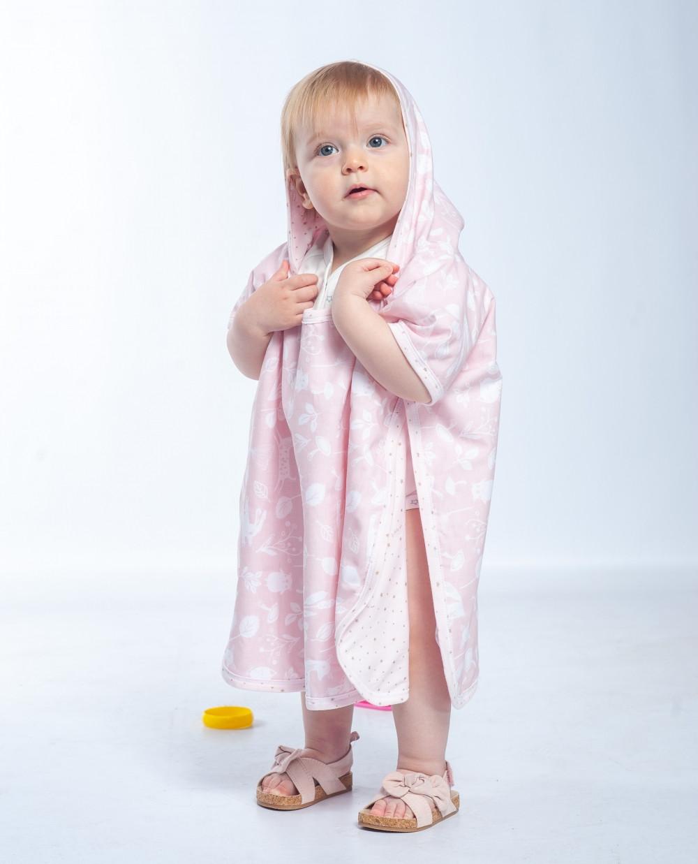 Полотенце-пончо Twins до 2 лет, pink