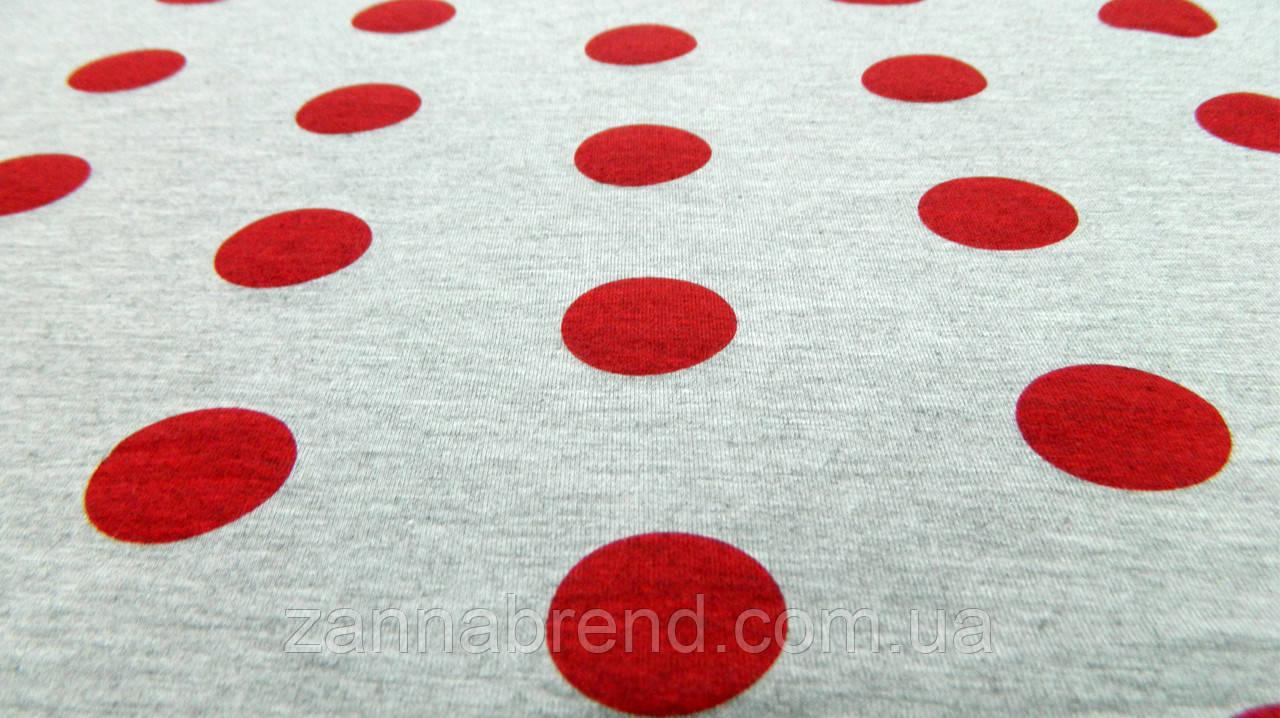 Тканина футер двунітка сірого кольору в червоний горошок