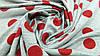 Тканина футер двунітка сірого кольору в червоний горошок, фото 4