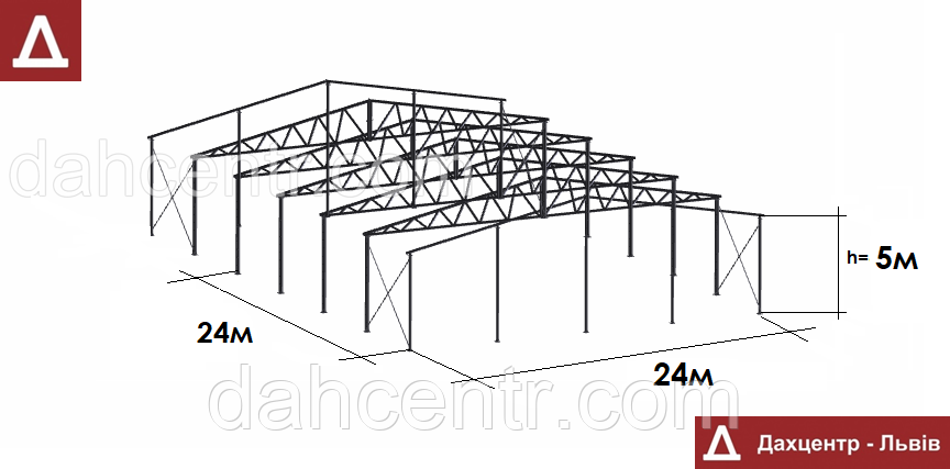 Ангар Двускатный 24х24 навес, фермы, склад, сто, помещение, каркас