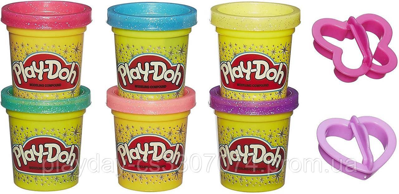 Набор пластилина play-doh с блестками  6 штук