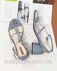 Женские босоножки джинс натуральная кожа на среднем каблуке