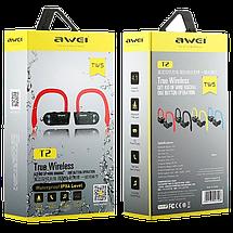 Беспроводные наушники AWEI T2 Twins Earphones Red внутриканальные, Bluetooth (b201), фото 2