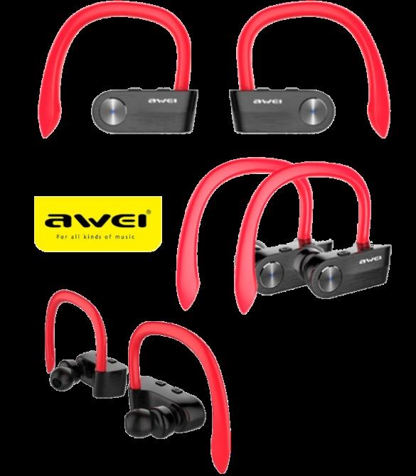 Беспроводные наушники AWEI T2 Twins Earphones Red внутриканальные, Bluetooth (b201)