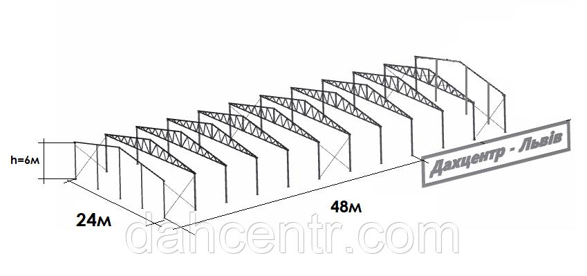 Двускатный навес, ангар 24х48 под склад, цех, фермы, каркас, зерно.