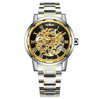Механические мужские часы Winner 8012С Automatic Silver-Black-Gold