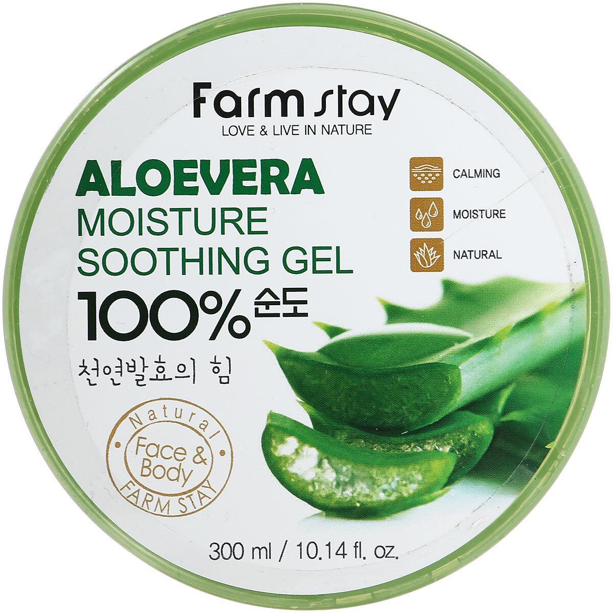 Многофункциональный гель с экстрактом Алое Вера FarmStay Aloe vera Moisture Soothing Gel 100%, 300ml