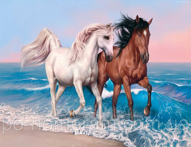 Большая алмазная вышивка на подрамнике кони