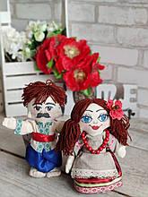 Пара украинцев из текстиля ,куклы  ручная работа, выс.около 23см., 240/210