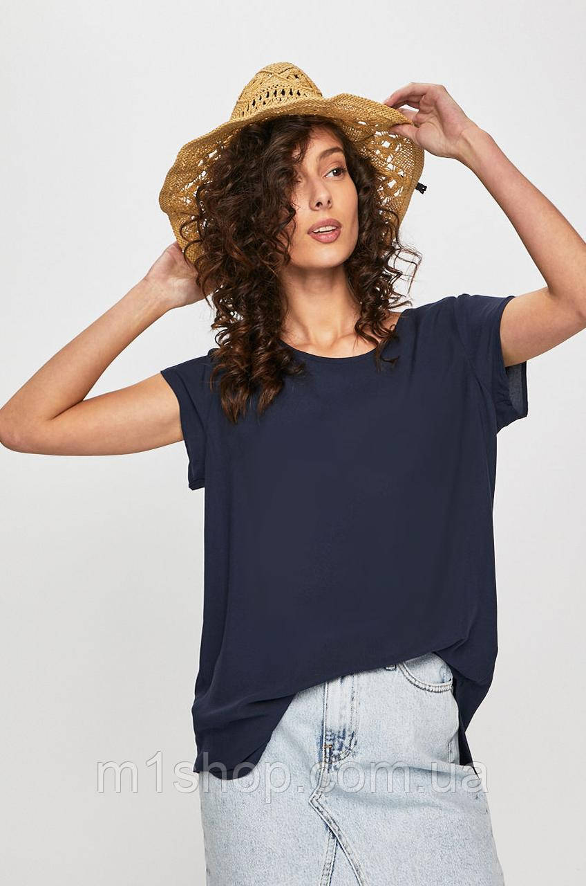 Свободная вискозная темно-синяя футболка с удлиненной спинкой (ans)