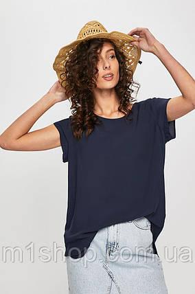 Свободная вискозная темно-синяя футболка с удлиненной спинкой (ans), фото 2