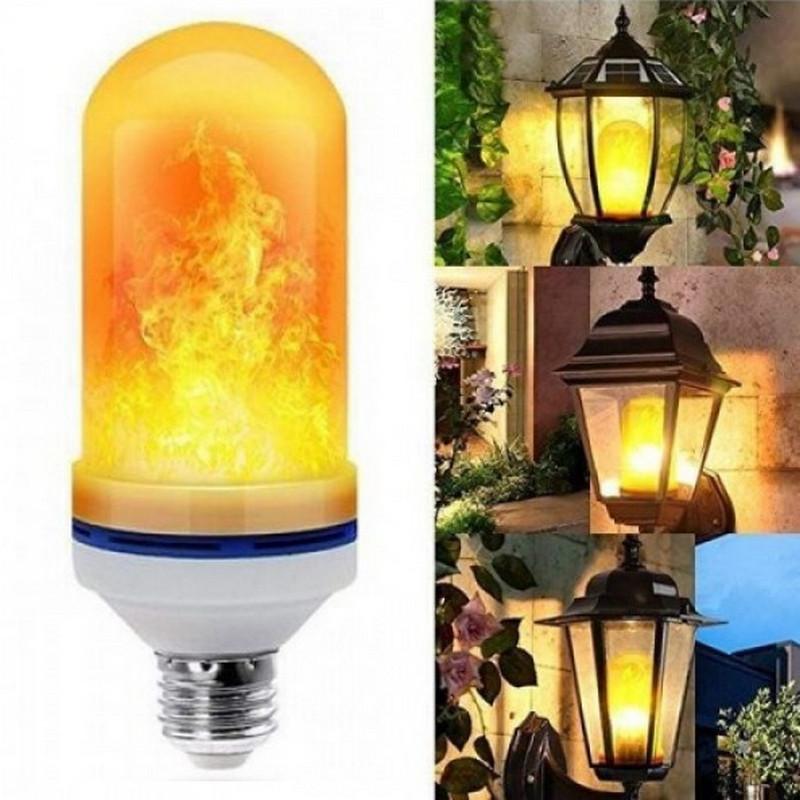 [3 РЕЖИМА] Лампа LED светодиодная с эффектом пламени огня, Лампочка разгорается и затухает 3 режима
