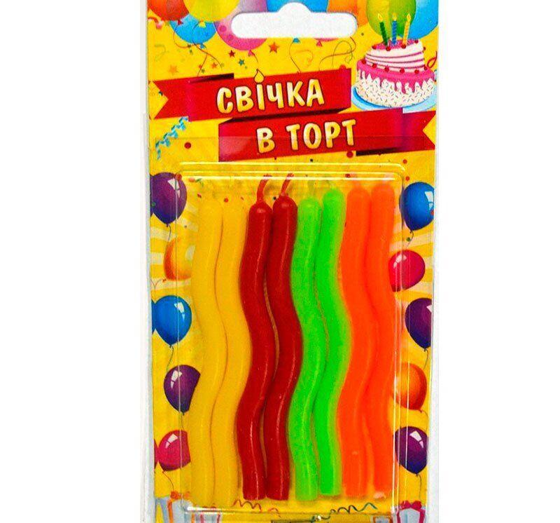 Свечи на торт витые, тортовые свечи, 8 шт/уп