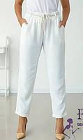 Белые летние женские брюки с высокой посадкой   В 021/ 01, фото 1